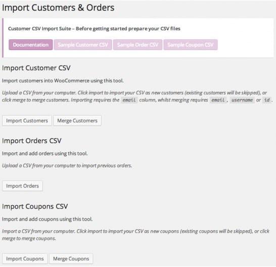 Main Import Screen