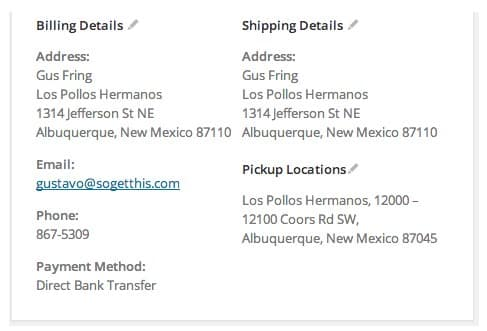Selected pickup location displayed in the Order Admin