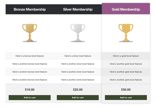 An example pricing table