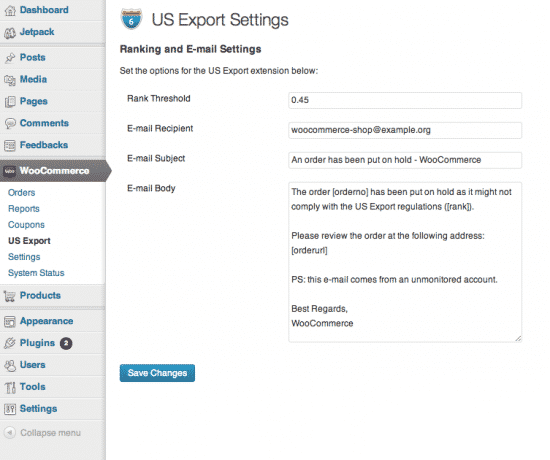 WooCommerce US Export compliance settings screen